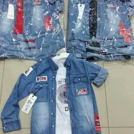 Рубашка джинс + футболка хлоп 33087