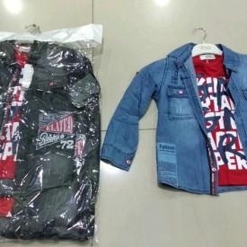 Рубашка джинс + футболка хлоп 33078
