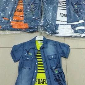 Рубашка джинс + футболка хлоп 33080