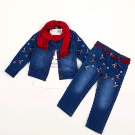 Костюм 3-ка джинс дівчинка 31899
